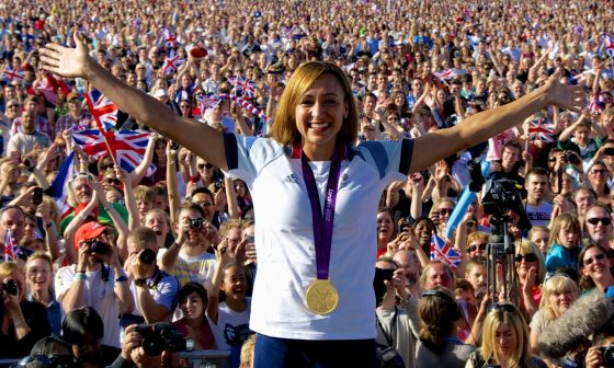 Jessica Ennis on sage at Hyde Park during the London Olympics where we provided coverage for the Mayor of London.
